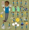 Flat type school boy black_money