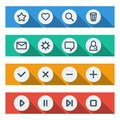 Flat ui design elements set of basic web icons on colorful bars vector illustration Royalty Free Stock Images