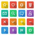 Flat ui design elements set of basic web icons on colorful bars vector illustration Stock Photography
