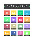 Flat ui icons special for web and mobile applications Royalty Free Stock Images