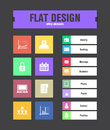 Flat ui icons special for web and mobile applications Stock Photography
