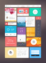 Flat ui kit for responsive web design adaptive elements grid Stock Photography