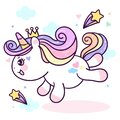 Flat unicorn fairy cartoon Pony Child jump in air with star and cloud Royalty Free Stock Photo