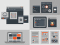 Flat user interface design elements modern illustration icons set of buttons forms tabs sliders and other navigation and Royalty Free Stock Photo