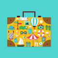 Flat Vacation Summer Holiday Objects Set