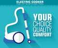 Flat vacuum cleaner with the slogan on the