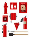 Flat vectoe set of firefighting items. Fireman tools. Hydrant, hose, fire extinguisher sign and alarm, handle Royalty Free Stock Photo