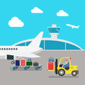 Flat vector airport: plane, luggage, loading, baggage Royalty Free Stock Photo