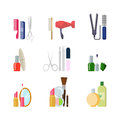 Flat vector beauty shop salon web app icons: makeup hair tools Royalty Free Stock Photo