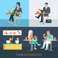 Flat vector businessman people eat in fastfood cafe