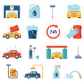 Flat vector car wash cleaning service wax foam cleaner worker style icon set detergent shower water shampoo vacuum stand Royalty Free Stock Photos