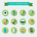 Flat vector color set of icons house cleaning and laundry vect illustration Stock Photo