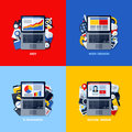 Flat vector concepts of SEO, web design, e-business, social media