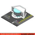 Flat vector 3d cinema entertainment mall night club building Royalty Free Stock Photo