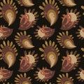 Flat vector naive fantasy paisley flower pattern
