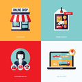 Flat vector design with e-commerce and online shopping icons Royalty Free Stock Photo