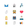 Flat vector email message school heat mobile website app icons Royalty Free Stock Photo