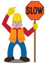 Flat vector flagger cartoon pointing to a sign he is holding Stock Images