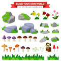 Flat vector flora collection: stone, flower, mushroom, grass Royalty Free Stock Photo