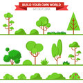 Flat vector green flora collection: plant, tree, bush, grass Royalty Free Stock Photo