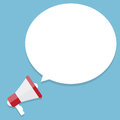 Flat vector icon of megaphone with white bubble
