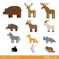 Flat vector icon wild farm domestic animal cartoon