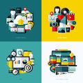 Flat vector icons set of cloud storage social media seo and responsive web design Royalty Free Stock Images