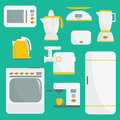 Flat vector kitchenware illustration. Kitchen appliances. Set of elements. Microwave, oven, refrigerator, coffee machine, espresso Royalty Free Stock Photo
