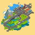 Flat vector map landscape; parks; buildings; seating area;