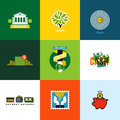 Flat vector money concepts. Creative icons of wallet, banking