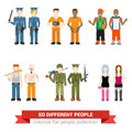 Flat vector people: police prisoner gangsta hooker robber army Royalty Free Stock Photo