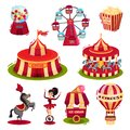 Flat Vector Set Of Circus Icon...