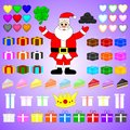 Flat Vector Set of Colorful Items Related to Christmas and New Year Theme. Santa Claus, Gifts, Cheesecakes, Hearts, Crown, Clover.