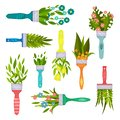 Flat vector set of decorative elements with spring bouquets and leaves in form of paint brush. Beautiful flowers