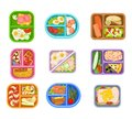 Flat vector set of lunch boxes plastic trays with delicious meal. Appetizing food. Salmon fish, fresh vegetables, eggs Royalty Free Stock Photo