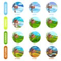 Flat vector set of 12 months of the year. Winter, spring, summer and autumn season. Nature landscape. Elements for Royalty Free Stock Photo