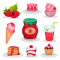 Flat vector set of raspberry food and drink. Ice-cream, jar of jam, fresh cocktail and tasty desserts. Elements for menu