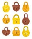 Flat vector set of vintage padlocks decorated with ornamental engraving. Antique hanging locks. Design for postcard