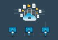 Flat vector technology internet cyber security design concept
