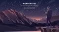 Flat vector travel web banner. Wanderlust.