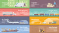 Flat vector web banner logistics set of banners on the theme of warehouse freight cargo transportation storage of goods insurance Royalty Free Stock Photography