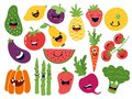 Flat vegetable characters. Funny smiley doodle fruits, hand drawn berries potato onion tomato apples. Vector cute fruits