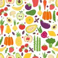 Flat vegetables seamless pattern. Hand drawn colorful fruits, organic natural vegetarian food. Vector doodle vegetables