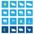 Flat weather icon set of in white Royalty Free Stock Image