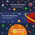 Flat web banner space universe banners three background Stock Image