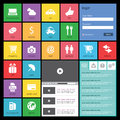Flat web design elements buttons icons templat and Royalty Free Stock Images