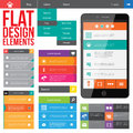 Flat web design elements buttons icons templates for website Stock Images