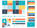 Flat Web Design elements, buttons, icons. Templates for website. Royalty Free Stock Photo