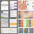 Flat web design elements buttons icons and video player templates for website or applications Royalty Free Stock Photos