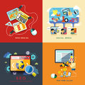 Flat web design seo social media pay per click concept of and Royalty Free Stock Photo